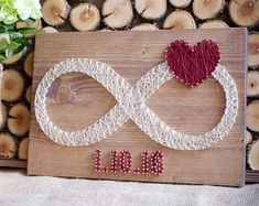 Custom date infinity string art, infinity love sign wall decor great gift for bridal shower, wedding or anniversary, rustic, vintage sign
