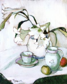Anne Redpath: Lilies Lots of whites with only a small amount of strong colour - interesting