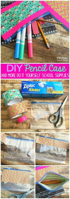 a fun and easy DIY Pencil Case made with a Ziploc bag and Bright and Durable Duct Tape Designs.Such a fun and easy DIY Pencil Case made with a Ziploc bag and Bright and Durable Duct Tape Designs. Diy Crafts For Teen Girls, Diy Projects For Teens, Diy For Kids, Teen Diy, Craft Projects, Duct Tape Projects, Duck Tape Crafts, Easy Diy Crafts, Crafts To Do