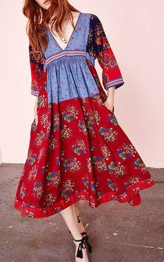 Milena Patchwork Floral Midi Dress by Ulla Johnson Caftan Dress, Silk Dress, Boho Chic, Bohemian, Gypsy, Vogue, Floral Midi Dress, Floral Dresses, Pinafore Dress