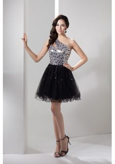 Sequin and Tulle One Shoulder Prom Dress Decorated with Beadings - Google Search