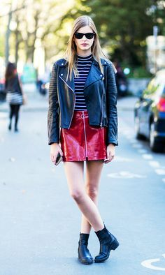 Wear a patent leather miniskirt with: Moto jacket + striped tee