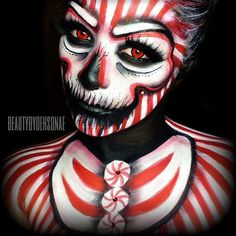 Wicked Candy Cane. I'm really glad everyone loved our collaboration. It was so fun to do! Would you like to see another angle? Let a sista know! (: Products used: @kryolanofficial Aqua colors in red & white, @mehronmakeup paradise makeup in black, @sugarpill Shadows in tako, love+ & lashes are in supreme. @sauceboxcosmetics in black widow! Contacts are from @hallowojos. #beautybydehsonae #beautygoesbad #candycane #sugarpill #kryolan #mehronmakeup