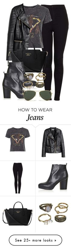 """""""Style #9765"""" by vany-alvarado on Polyvore featuring Topshop, H&M, Gucci, Ray-Ban, Mudd, women's clothing, women, female, woman and misses #JeansWomensRayBans"""