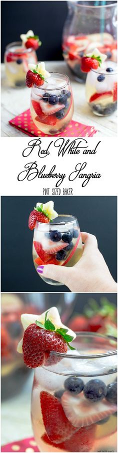 Summertime calls for a white wine Sangria. This Red, White and Blueberry Sangria Recipe serves a crowd. Fresh berries, white wine and some bubbly! This may be good with some alcohol-removed wine! Holiday Drinks, Party Drinks, Summer Drinks, Fun Drinks, Holiday Recipes, Beverages, Drinks Alcohol, Summer Bbq, Summer Parties