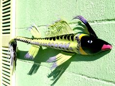Painted  Lady Palm Frond Fish Art Deco 4 feet. $85.00, via Etsy.