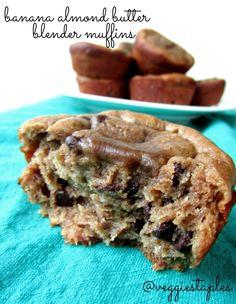 Paleo Almond Butter Banana Blender Muffins #paleo #grainfree #glutenfree