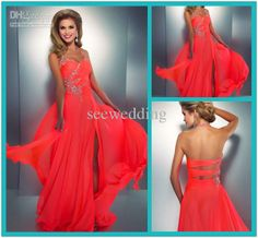 Discount 2014 Coral Colored Prom Dresses Crystal Embellished Halter Slit Chiffon Bright Hot Pink Prom Dress Sexy Low Back Cut Out Neon Coral Gown Online with $115.0/Piece | DHgate