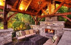 VERY nice out door living room with fireplace