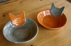 Set of 3  Personalized Kitty Cat Bowls Dishes  by sunshineceramics, $75.00