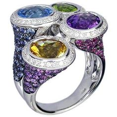 18K White Gold Ring set with Multi Color Stone, Brown Diamond