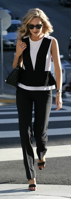 colorblock peplum blouse, black wool trouser, black ankle strap heeled sandals, leather shoulder bag, watch + sunglasses {bcbg, j. crew, steve madden, reiss, daniel wellington, stella mccartney}
