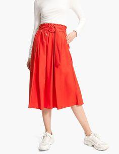 Flared midi skirt with belt - Skirts | Stradivarius Hungary