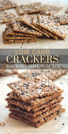 May 2019 - Crispy homemade low carb keto seed crackers recipe that's also dairy free, gluten free, grain free, nut free, paleo and vegan. Healthy Crackers, Low Carb Crackers, Gluten Free Crackers, Homemade Crackers, Gluten Free Grains, Crispy Crackers Recipe, Gluten Free Crisps, Keto Snacks, Snack Recipes