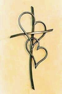Cross with Double hearts