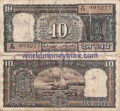 WorldMoneyMax.com :: India 10 Rupee 1989 banknote. RESERVE BANK OF INDIA...