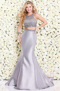 Silver Two-Piece Mermaid Prom Dress 4073