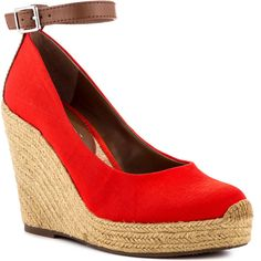 BCBGeneration Women's Gracyn - Max Red Vach ($51) ❤ liked on Polyvore featuring shoes, espadrilles, ankle strap, casual, platform, pumps, rounded toe, wedges, women and platform espadrilles