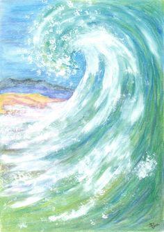 « Vague N° 4 », pastels, vague, mer, vert