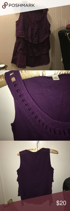 Cold water Creek tank top Purple tank top. Has beautiful stitching on bottom ruffle and a gorgeous neckline.     (8) Coldwater Creek Tops Tank Tops