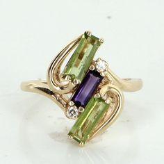 Peridot Amethyst Diamond Ring Vintage 14 Karat Gold