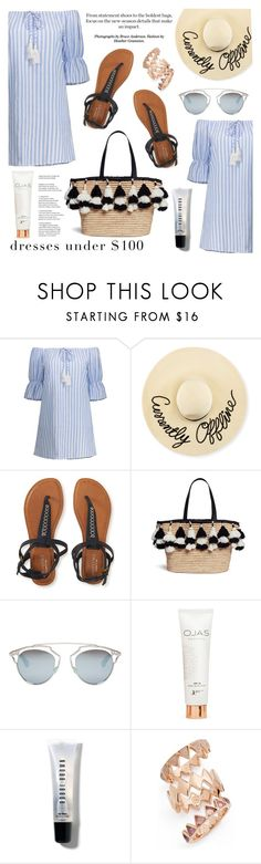 """""""Under $100: Summer Dresses (Contest Entry)"""" by raniaghifaraa ❤ liked on Polyvore featuring Eugenia Kim, Aéropostale, Alice + Olivia, Christian Dior, OJAS, Bobbi Brown Cosmetics, Tory Burch and under100"""