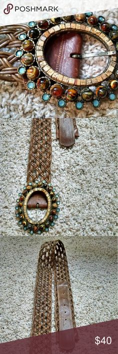 Leatherock Leather Belt with Swarovski Crystals Leatherock Open-Braid Leather Belt with Swarovski Crystals  Barely used. Retails new for $125.  Leatherock San Diego USA genuine leather, size Medium-34, style #5960  Loosely-woven brown braided belt with vintage leather tabs finished with semi-precious Picture Jasper stones, acrylic cabs, and Swarovski crystals embellished oval buckle. Leatherock Accessories Belts