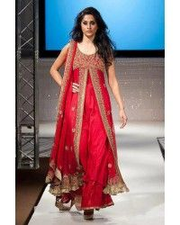 Red Embroided Front Open Crinkle Chiffon Evening Wear Party Dress Pakistani Indian Bridal Wear pakistani men kurta Pakistani men shalwar kameez Pakistani men suits