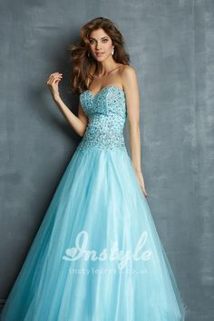 strapless blue sweetheart tulle ballgown prom dress with beaded bodice