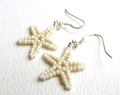 Beaded Starfish Earrings, Matte Cream