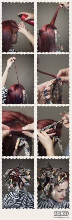 Rag Curl Tutorial (for dry, frizz-prone hair)   Shed --- tutorial images