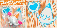 Fluro Gocco Prints & Paperclay Figures by TADO #pabloveoneanother
