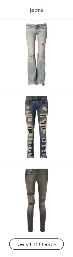 """""""jeans"""" by heyoffmycloud ❤ liked on Polyvore featuring jeans, pants, bottoms, calças, distressed jeans, tall flare jeans, ripped flare jeans, free people jeans, torn jeans and destruction jeans"""
