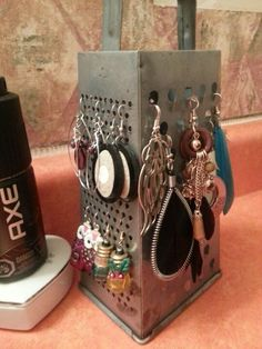 Old grater as a earring holder