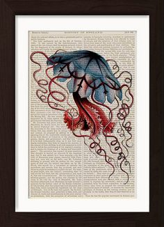 Jellyfish Blue Illustration 2 by Ernst Haeckel mixed media