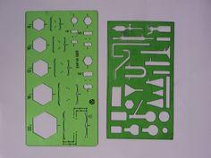 Zwei Arbeitsschablonen für Technisches Zeichnen Original DDR
