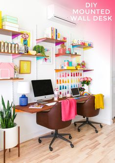 Get organized in the new year with this DIY Mounted Wall Desk for two! Home Office Setup, Home Office Design, Diy Interior, Desk For Two, Wall Desk, Office Makeover, Wall Mounted Shelves, Desk Shelves, White Walls