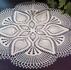 Crochet Pattern of Beautiful Lace Doily Using White Cotton Thread