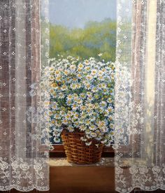 Behind the lace curtain. Painting by Fusun Urkun Sanatevi Window View, Window Art, Stone Painting, Painting & Drawing, Illustration Art, Illustrations, Lace Curtains, Vintage Interiors, Through The Window