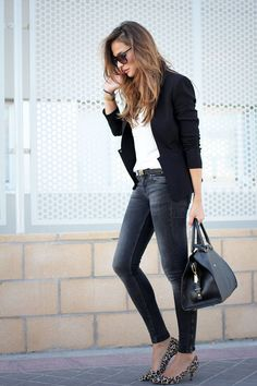 Black Jacket  black skinny jeans and white top. . Leopard pumps