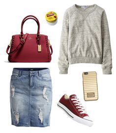"""""""Gray and Burgundy"""" by mikaylaxxrayann ❤ liked on Polyvore featuring Object Collectors Item, Uniqlo, MICHAEL Michael Kors, Coach, Converse, Carmex, casual, gold, gray and burgundy"""