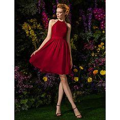 Knee-length+Chiffon+/+Lace+Bridesmaid+Dress+-+Mini+Me+A-line+Jewel+Plus+Size+/+Petite+with+Lace+/+Sash+/+Ribbon+–+CAD+$+125.09