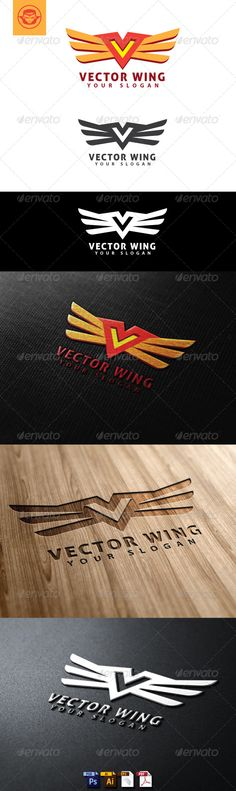 Vector Wing Logo Template — Photoshop PSD #flying #creative • Available here → https://graphicriver.net/item/vector-wing-logo-template/4797996?ref=pxcr