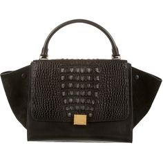 Pre-owned C?line Crocodile Trapeze Bag (99.839.990 IDR) ❤ liked on Polyvore featuring bags, handbags, black, leather man bags, genuine leather purse, leather purses, real leather purses and crocodile leather purse