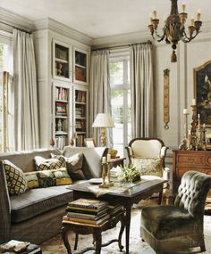 Library/Den....Atlanta home of Interior Designer Peggy Stone. Veranda April 2011
