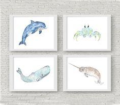 Nursery animal prints animal nursery art ocean by ThimbleSparrow Coastal Nursery, Ocean Themed Nursery, Sea Nursery, Whale Nursery, Animal Nursery, Tropical Nursery, Nautical Nursery Decor, Rustic Nursery, Watercolor Whale