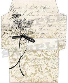 French vintage style envelope No 3 - PRINTABLE - digital collage sheet - set of…