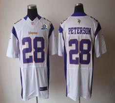 Nike Vikings #28 Adrian Peterson White With Hall of Fame 50th Patch Men's Embroidered NFL Elite Jersey!$26.00USD Jersey Nike, Nfl Jerseys, Minnesota Vikings, 50th, Cheap Nike