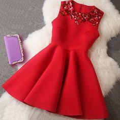 Elegant Solid Color Sleeveless High Waist Dress [grxjy56002660] on Luulla