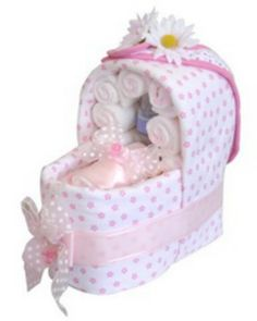Pink basssente for a baby shower made up of useful baby things